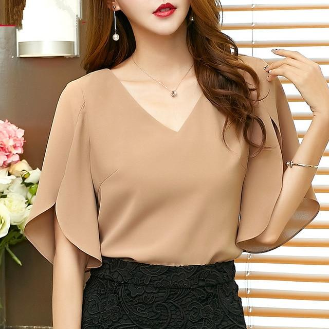 Women Chiffon shirt short-sleeved 2017 summer new Korean women's sexy V-neck looserricdress-rricdress