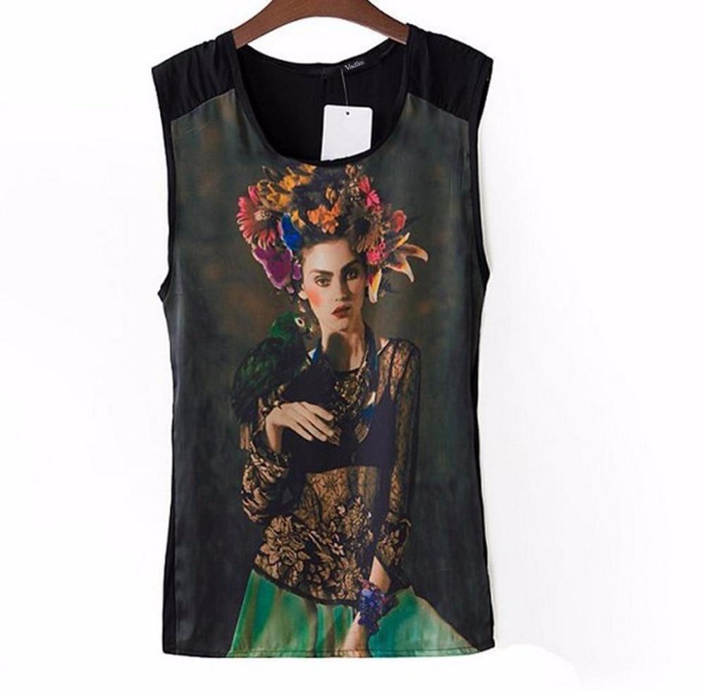 Women beauty girl print blouses sexy vintage sleeveless Shirt casual tops chiffonrricdress-rricdress
