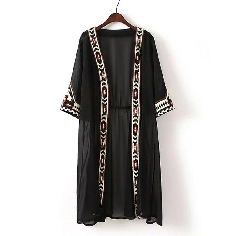 L231 Fashion Womens Black white color Geometric Embroidery Ethnic Shirt Cardigan summerrricdress-rricdress