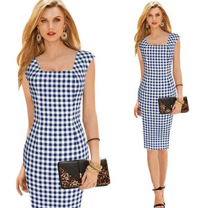 Women's Elegant Square Neck Tunic Sleeveless Wear to Work Business Officerricdress-rricdress