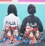 2 colors HARAJUKU cartoon digit print 2016 summer kimono cardiganrricdress-rricdress