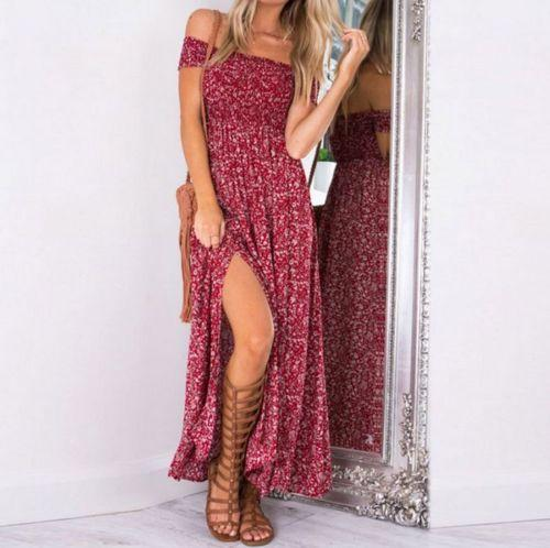 HOT Women Summer Boho Maxi Long Dress Slipt Plus Size Stretch rricdress-rricdress