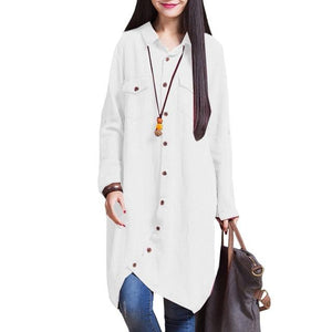 4XL 5XL Autumn Women Long Sleeve Linen Blouses And Shirts Female Ladiesrricdress-rricdress