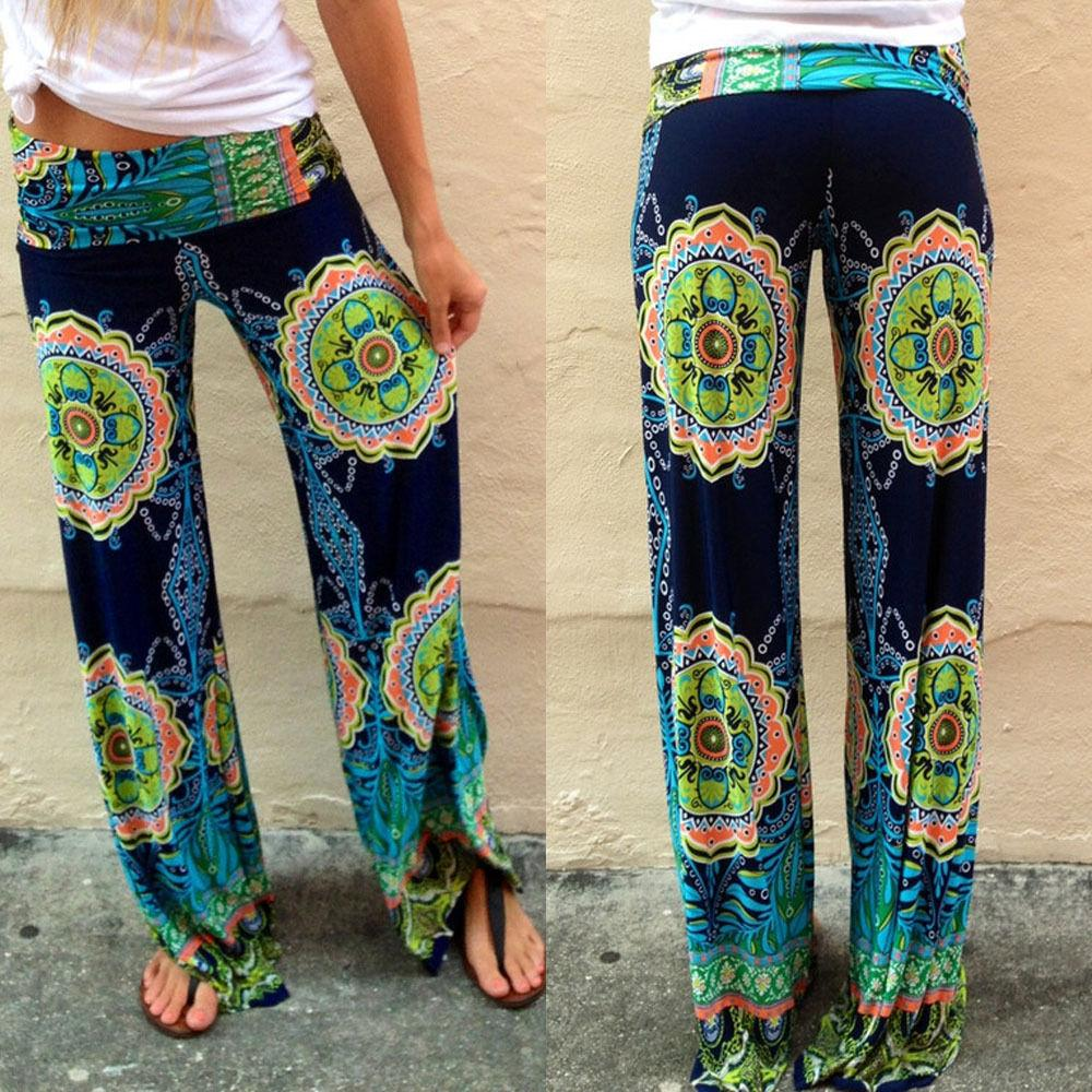Summer New Fashion Floral Casual Wide Long Pants High Waist Palazzo Trousersrricdress-rricdress