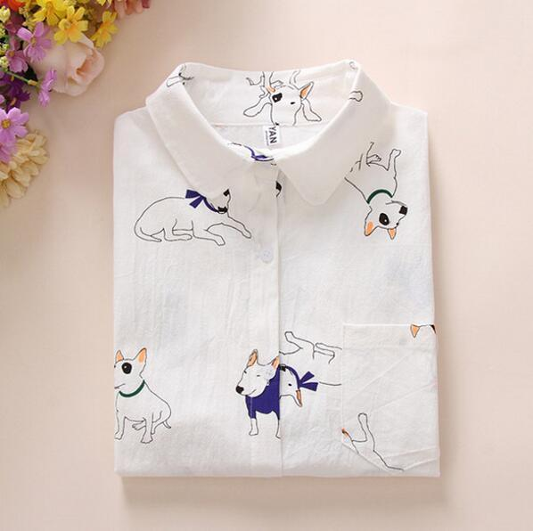 2017 Spring New Women Long Sleeve High Quality Cotton Shirt Cartoon Dogrricdress-rricdress