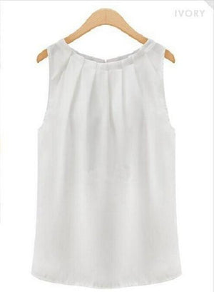 Sleeveless Cool Women Summer Blusas Casual Style Solid Color Round Neck Chiffonrricdress-rricdress