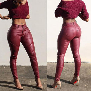 Sexy Womens fashion Leather Skinny High Waist fitness Leggings Stretchy pleated Pencilrricdress-rricdress