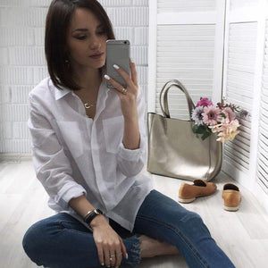 5XL Casual Women Loose Brand Shirt Turn-Down Collar Long Sleeve Pocket Whiterricdress-rricdress