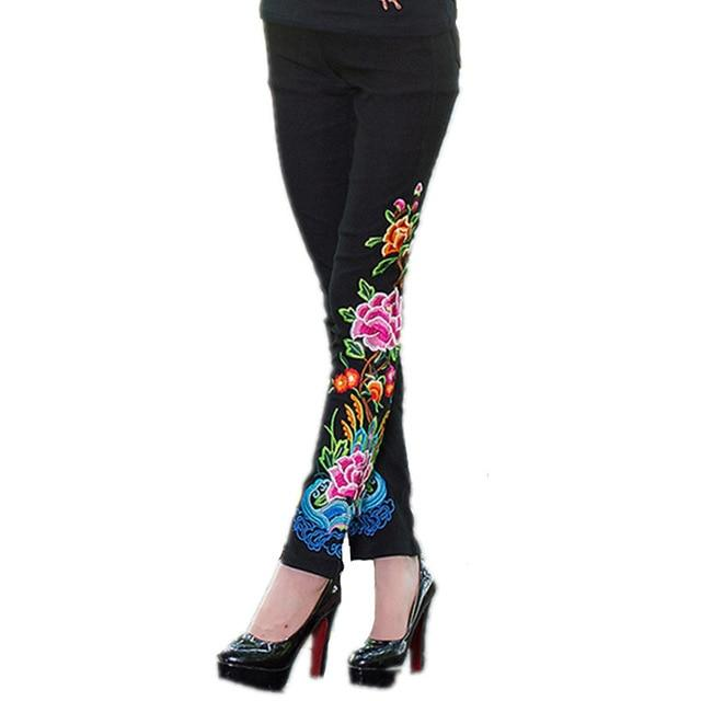 Autumn Cotton Embroidery Pants Women Quality Casual Leggings 4XL Plus Size Bottomrricdress-rricdress