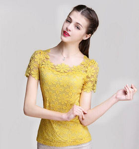 M-5XL 2017 Spring Summer lace Tops Fashion blusas Openwork Crochet lace shirtrricdress-rricdress