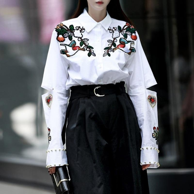 2017 Embroidery Blouses Women's Shirts White Hollow out Female Shirt Longrricdress-rricdress