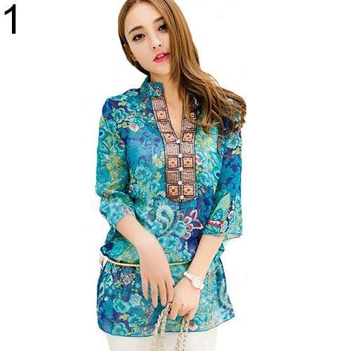 New Arrival Women's Fashion Summer Korean Style Ethnic Loose Chiffon Blouse Shirtsrricdress-rricdress