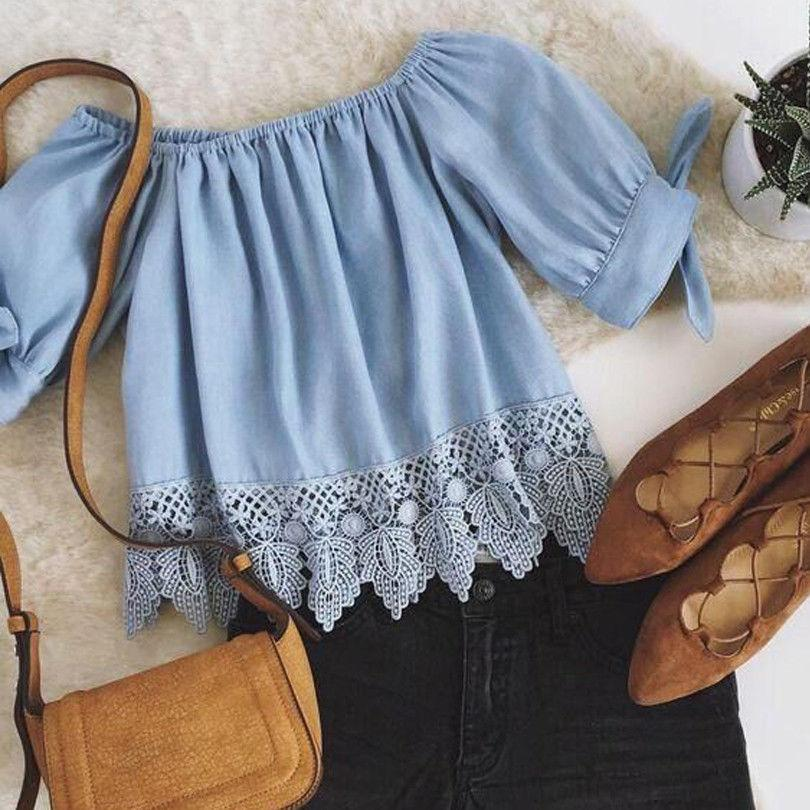 New Fashion Women Clothes Lace Off Shoulder Shirts Casual Blouses Crop Topsrricdress-rricdress