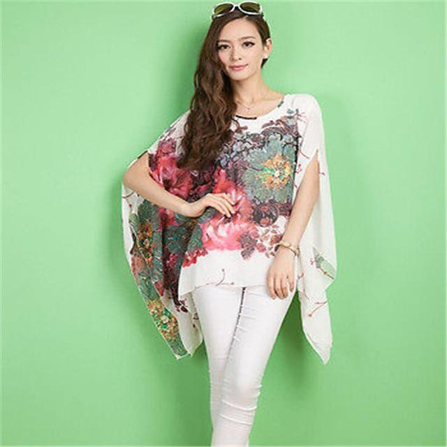 Women's Chiffon Tops 2017 New Fashion Summer Shirt Boho Style Batwing Casualrricdress-rricdress