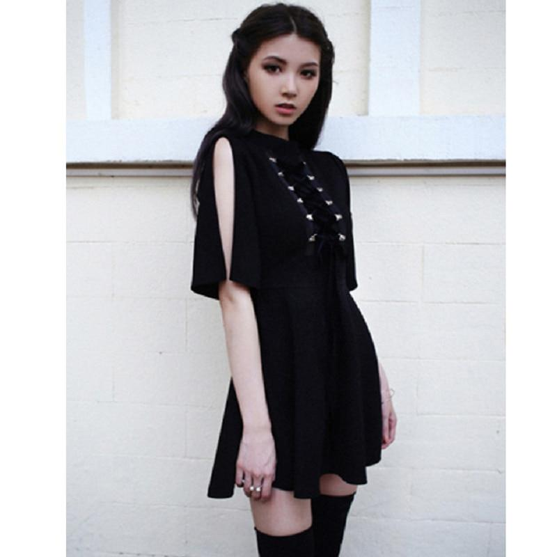 Ribbon Decorated Gothic Women Black Dress Japanese Harajuku Punk Cross Straps Tierricdress-rricdress