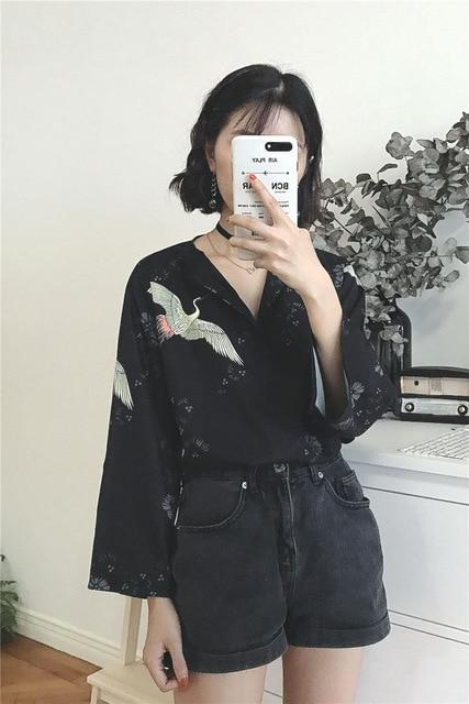 Black Female Shirts V-neck Tops Vintage Embroidery Women Blouse Harajuku Casualrricdress-rricdress