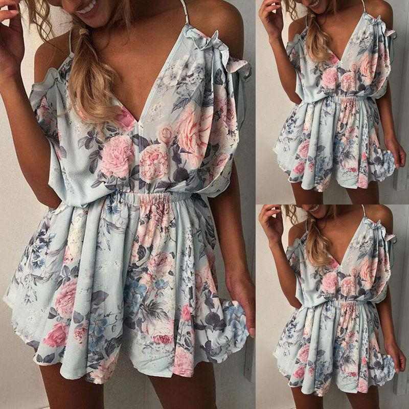 Mini Women Ladies Clothing Beach Playsuit Ladies Summer Sleeveless Shoulder Casualrricdress-rricdress