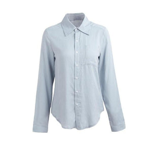 Fashion Long Sleeve Woman blouse White shirt Ladies Pocket Shirt Women Casualrricdress-rricdress