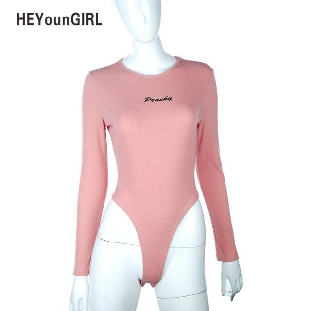 HeyounGIRL Sexy Bodysuit Women Long Sleeve Skinny Casual Bodycon Jumpsuit Romper Solidrricdress-rricdress