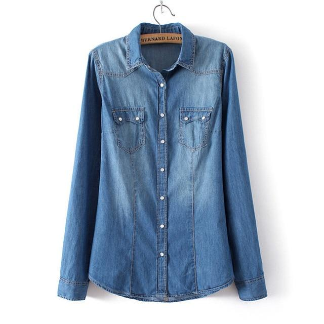 Winter Clothes Denim Shirt Women Clothing Vintage Jeans Shirt Womens Jeans Blusasrricdress-rricdress