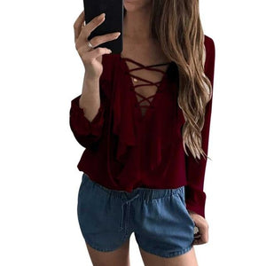 Sexy Chiffon Blouse Ruffle Blusas Mujer Womens Tops Lace Up V Neckrricdress-rricdress