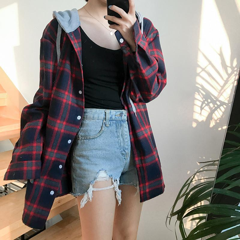 3colors 2017 autumn new arrival BF style faux two pieces hoodies plaidrricdress-rricdress