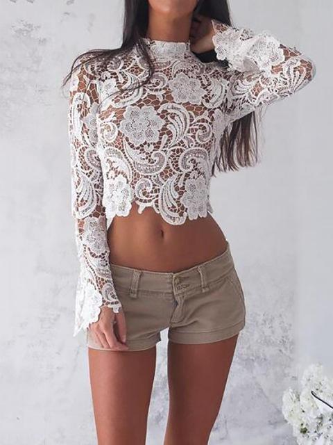 Elegant Turtleneck White Lace blouses See Through Sexy Long Sleeve Crochet Shortrricdress-rricdress