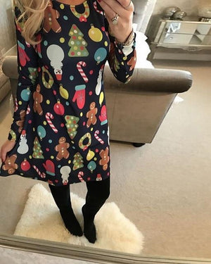 2018 New Year Festival Family Dress Women O neck Christmas Santarricdress-rricdress