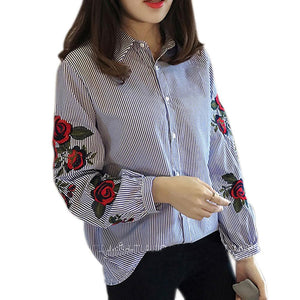 Fashion Women Floral Embroidery Blouse Lantern Long Sleeve Casual Shirt Spring Autumnrricdress-rricdress