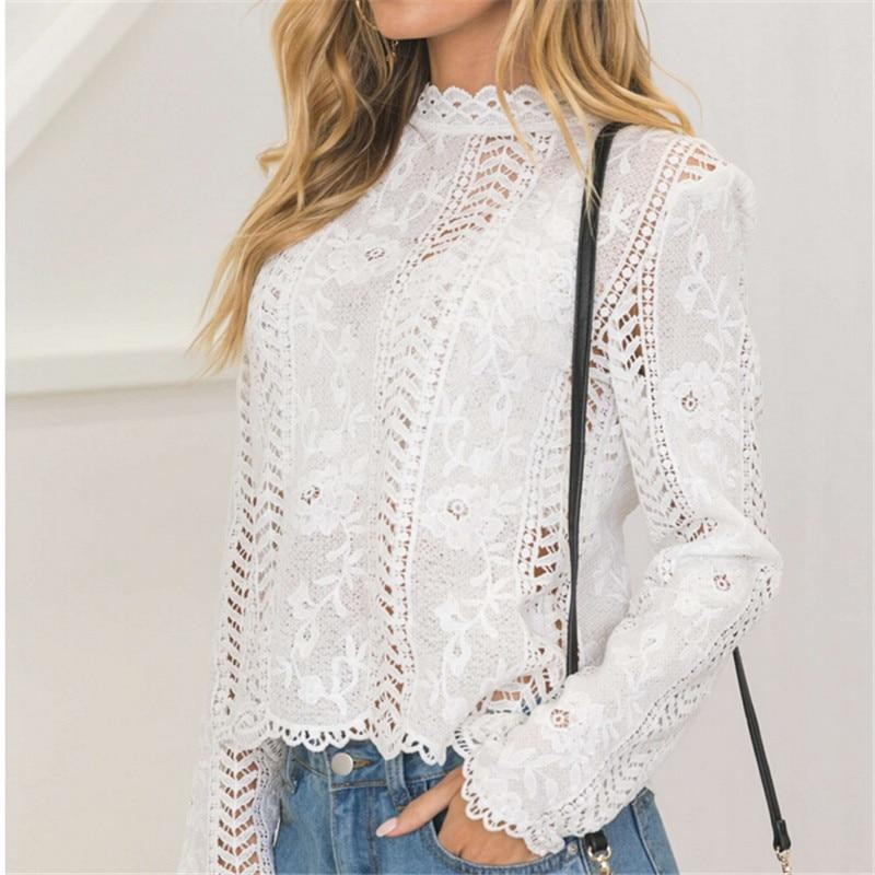women Back white Lace hollow long sleeve blouse turtleneck Top Summerrricdress-rricdress