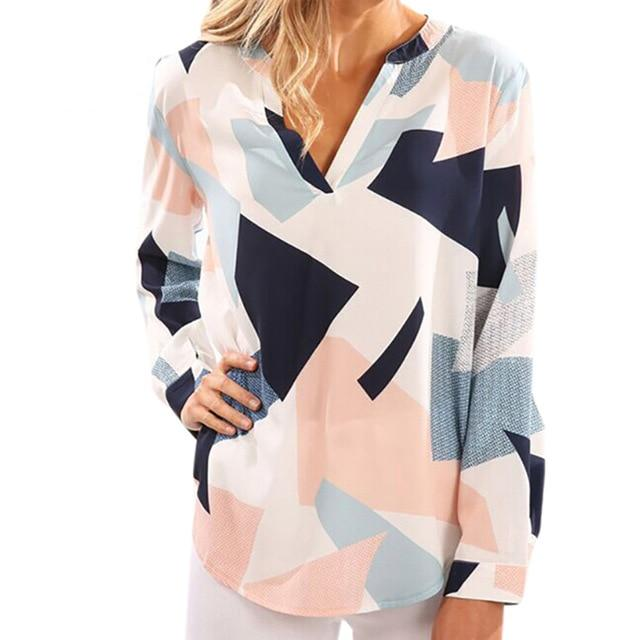 Women Blouses Shirts Long Sleeve V-neck Geometric Loose Blouse Ladies Beach Leisurerricdress-rricdress