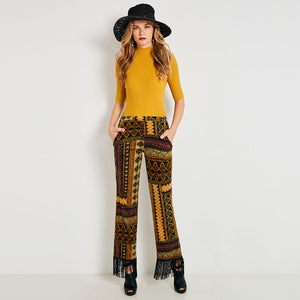 Women Fall Full Length Pants Geometric Women Mid-Waist Pants Greenrricdress-rricdress