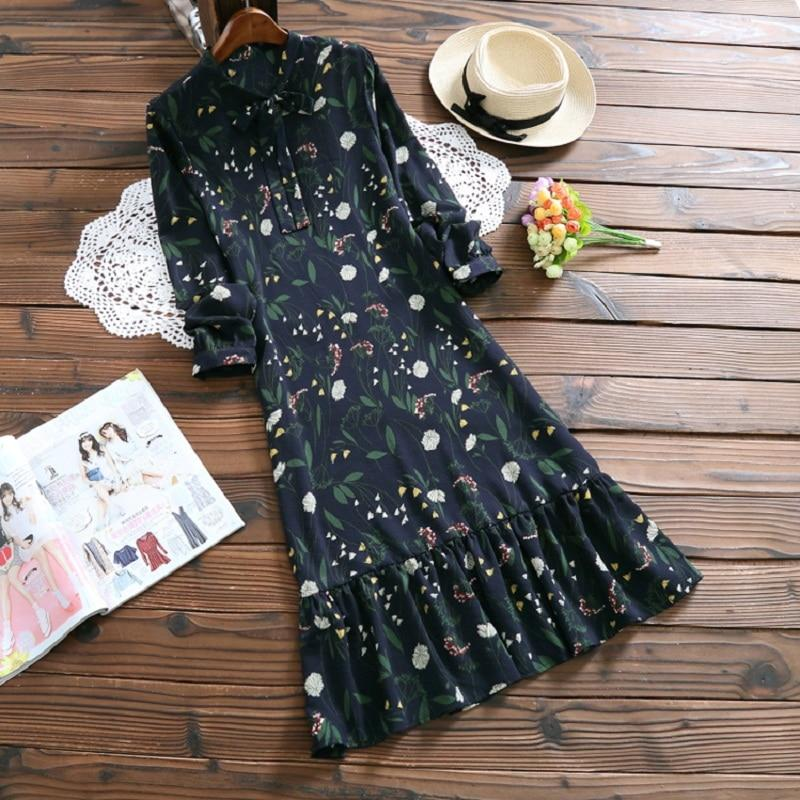Mori Girl Spring Autumn Women Chiffon Dress Round Neck Floral Print Rufflesrricdress-rricdress