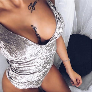 Sexy V Neck Backless Spaghetti Strap Velour Bodysuit 2017 New Woman Brightrricdress-rricdress