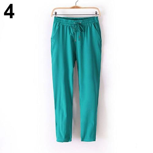 2016 New Women's Casual Solid Color Drawstring Elastic Waist Chiffon Trousers Haremrricdress-rricdress