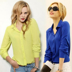 Women Blouses Button 5 Solid Color 2017 New Long-sleeve Shirt Female Chiffonrricdress-rricdress