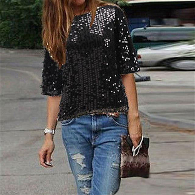 Fashion High Street LadiesClothes Short Sleeve Round Neck Glistening Sequin Blouse Slimrricdress-rricdress