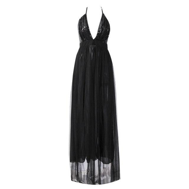 Sexy V-Neck Long Maxi Party Dresses Women Ladies Elegant Sequined Chiffon Partyrricdress-rricdress