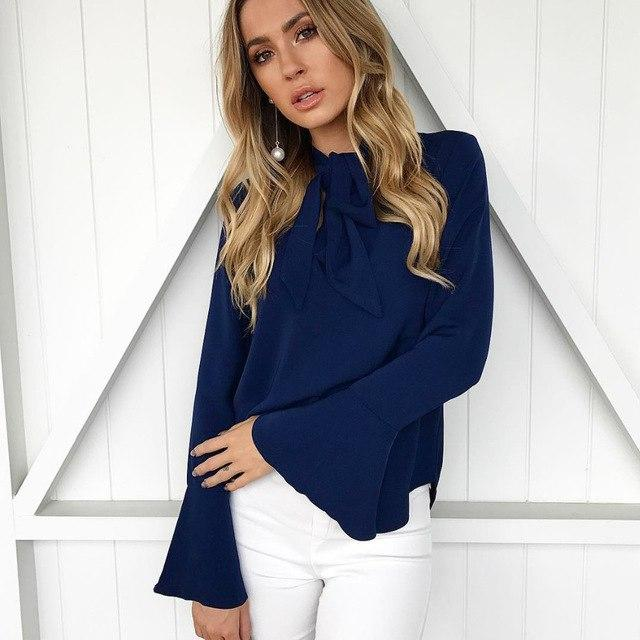 Fashion Women Tops Long Sleeve Bow flare sleeve Lady Basic Tee blusasrricdress-rricdress