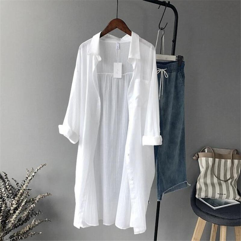 100% Cotton Casual White Long Blouse Women 2018 Spring Women Long Sleeverricdress-rricdress