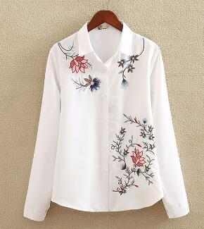 Embroidery White Cotton Shirt 2018 Autumn New Fashion Women Blouse Long Sleeverricdress-rricdress
