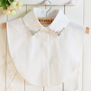 Vintage Fake Collar crystal pearl chiffon shirt lapel Female Pendant Winter cowboyrricdress-rricdress