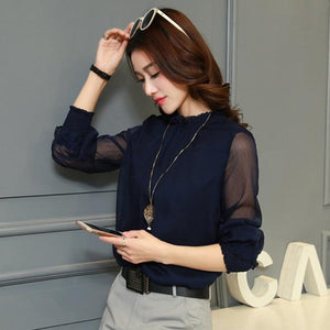 Chiffon Blouse 2018 New Women Tops Long Sleeve Stand Neck Work Wearrricdress-rricdress