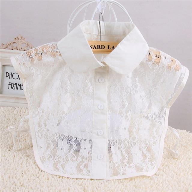 Fashion Simple Women Pure Color Lace Detachable Lapel Choker Necklace Shirt Fakerricdress-rricdress