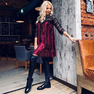 Sexy Lace Patchwork Velvet Dress 2018 Casual O Neck Three Quarterrricdress-rricdress