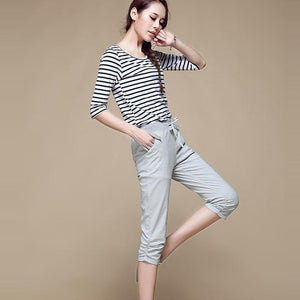 2018 Linen Pants Summer Women Calf Length Harem Pants Colorful Casual Elasticrricdress-rricdress