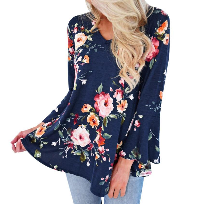 Plus Size 2018 Women's Blouse Floral Print V Neck Long Sleeve Casualrricdress-rricdress