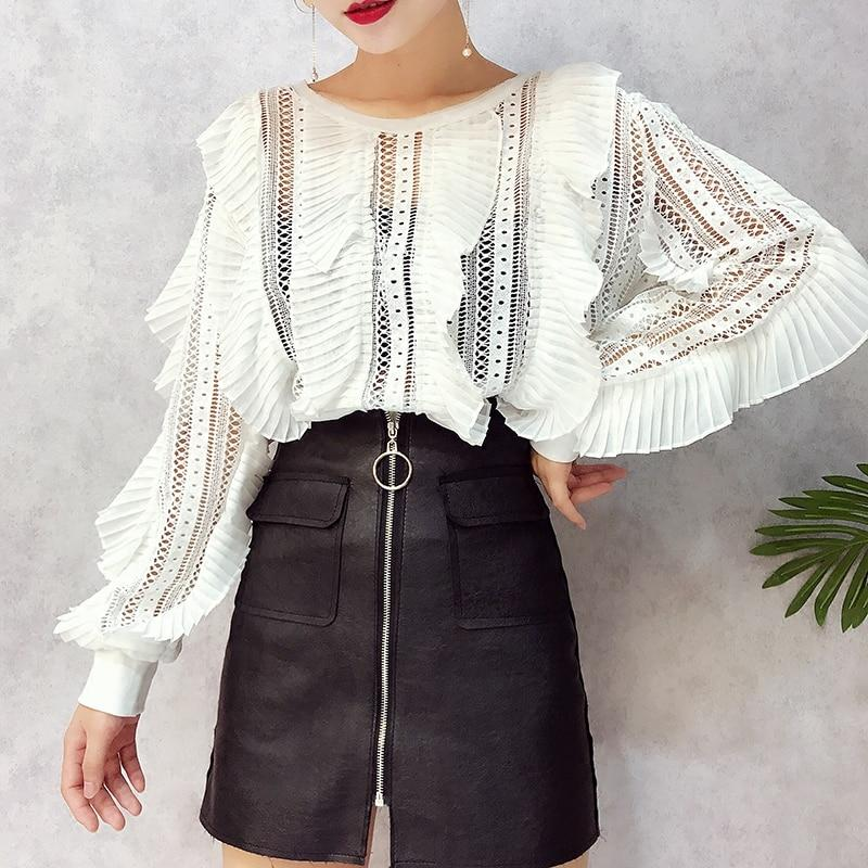 Autumn New Lace Blouses Ruffled Striped Hollow Out Sexy Ladies Fashionrricdress-rricdress