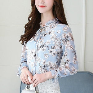 Women Spring Tops Chiffon Blouses And Shirts Ladies Floral Print Feminine Blouserricdress-rricdress