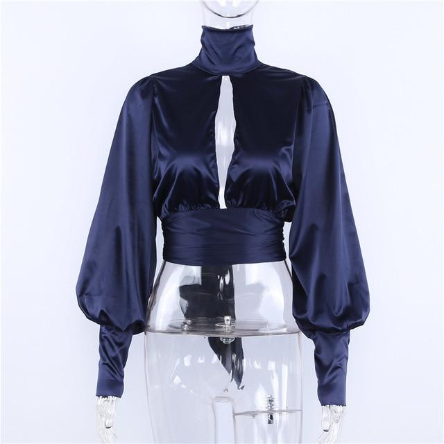 Sexy Backless Tutleneck tiered Ladies Long Sleeve blouse Hollow Out Women topsrricdress-rricdress